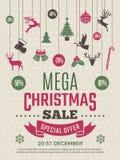 大销售的圣诞节海报 新年证件成交折扣传染媒介优惠券模板 皇族释放例证