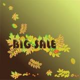 大销售秋天和巨大季节性折扣 传染媒介销售横幅模板 免版税图库摄影