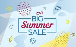 大销售额夏天 在孟菲斯样式的现代横幅 特价优待 一个球和一个metabol球从圈子 websi的模板 免版税库存照片