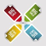 大销售额标签 在方形的贴纸标记的文本与箭头 向量 免版税图库摄影