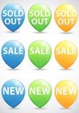 大销售,新和被全部售光的项目的圆的尖 免版税库存照片
