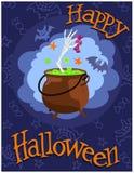 大锅用骨骼和糖果的手 愉快的万圣节 向量 免版税图库摄影