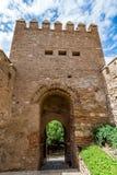 大门/门的看法对阿尔梅里雅& x28; AlmerÃa& x29;城堡& x28; Almeria& x29 Alcazaba; 免版税库存照片