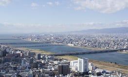 大阪和Toyonaka全景视图  免版税库存图片