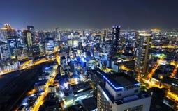 大阪在晚上,日本 免版税库存照片