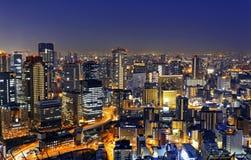大阪在晚上,日本 库存照片