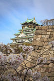 大阪城堡和樱花,大阪,日本 库存图片