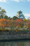 大阪城堡在秋天,神西,日本 免版税库存照片