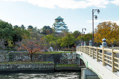 大阪城堡在秋天,神西,日本 免版税库存图片