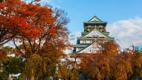 大阪城堡在秋天 免版税库存照片