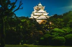 大阪城堡夜摄影  免版税图库摄影
