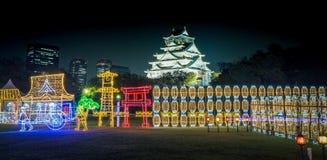 大阪城堡夜照明最巨大的轻的展示在大阪 免版税库存照片