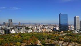 从大阪城堡的城市视图2015年10月 免版税库存照片
