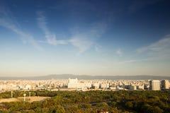 从大阪城堡的顶视图 图库摄影
