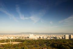 从大阪城堡的顶视图 免版税库存图片