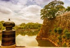 大阪城堡,日本堡垒墙壁  库存照片