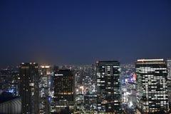 大阪市视图在晚上 库存照片
