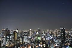大阪市视图在晚上 免版税库存照片