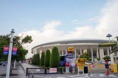 大阪樱花足球队员扇动努力去做比赛在Yanmar体育场永井,大阪日本 免版税库存图片