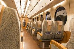 大阪,日本, 2月09日:南开火车的里面从大阪st离去 免版税库存照片