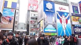 大阪,日本:区域平底锅射击的Glico人地标标志 股票录像