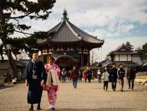 大阪,日本- 2017年7月02日:美丽的老历史寺庙在大阪 免版税库存图片