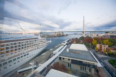 大阪,日本- 2016年11月19日:Tempozan港口村庄图f 免版税图库摄影