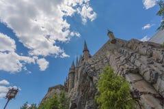 大阪,日本- 2016年6月2日 Hogwarts城堡照片在USJ的 库存照片