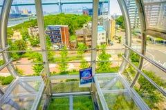 大阪,日本- 2017年7月18日:关闭弗累斯大转轮大阪Tempozan,日本的框架信任  它位于Tempozan 免版税库存图片