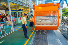 大阪,日本- 2017年7月18日:关闭Tempozan弗累斯大转轮大阪,日本 轮子有高度112 5米 免版税库存图片