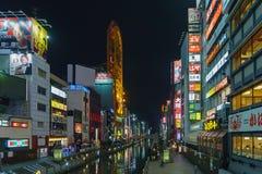 大阪,日本- 2015年11月29日:夜Dotonbori 其中一个著名旅游胜地在大阪,日本 免版税库存照片