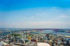 大阪,日本- 2017年7月18日:大阪区城市的美丽的景色在大阪,日本在一美好的天 库存照片