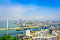 大阪,日本- 2017年7月18日:大阪区城市的美丽的景色在大阪,日本在一美好的天 图库摄影