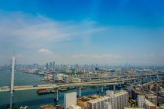 大阪,日本- 2017年7月18日:大阪区城市的美丽的景色在大阪,日本在一美好的天 免版税库存照片