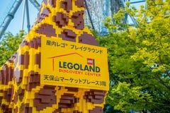 大阪,日本- 2017年7月18日:用legos做的美丽的长颈鹿在Tempozan弗累斯大转轮大阪,日本 找出它 免版税库存照片