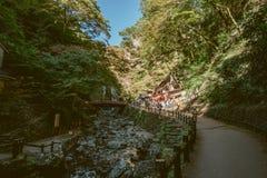 大阪,日本- 11月5 :美纳跌倒美济礁没有mori美纳类似全国公园(美纳瀑布) Minoo公园小河 库存图片