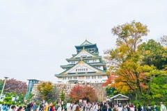 大阪,日本- 11月20 :访客拥挤在大阪城公园 我 免版税库存照片