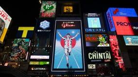 大阪,日本- 11月4 :Dotonbori的著名广告 库存图片