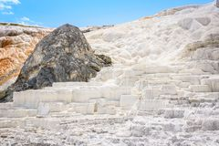 大阳台由被结晶的碳酸钙制成在马默斯斯普林斯 黄石公园,美国 库存图片