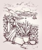 大阳台的妇女 得出花卉草向量的背景 库存例证