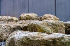 大阳台的建筑的大石头 库存图片
