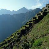 大阳台Machu Picchu 免版税库存照片
