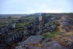 大陆分水岭在Thingvellir国家公园 免版税库存照片