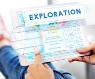大陆座标探险地质绘图Concep 免版税图库摄影