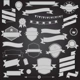 大集合减速火箭的设计丝带和徽章传染媒介设计元素 免版税图库摄影