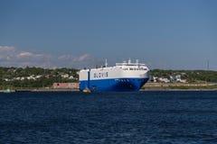 大集装箱船在达特矛斯 免版税图库摄影