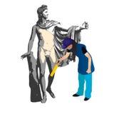 神阿波罗和妇女擦净人 向量例证
