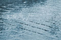 大雨下落边路表面上的 库存图片