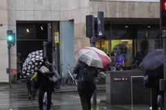 大雨在哥本哈根DENAMRK 免版税库存图片