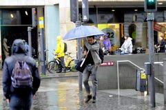大雨在哥本哈根DENAMRK 库存照片